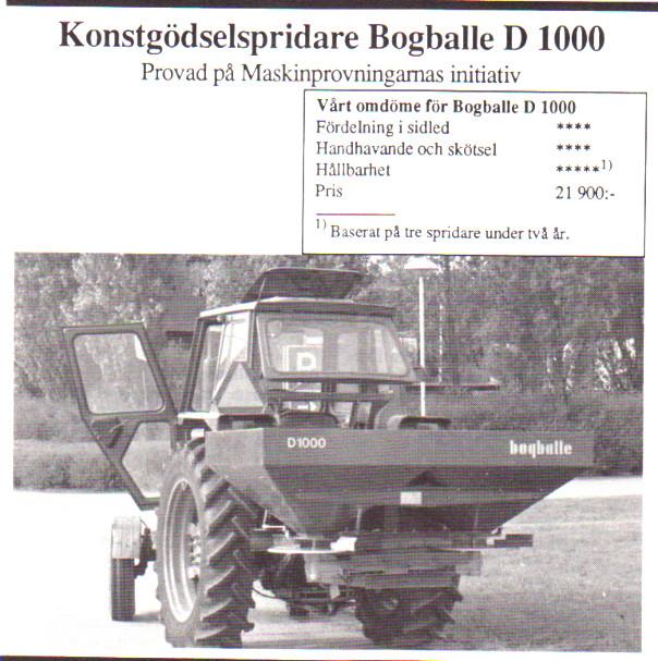 Bogballe konstgödselspridare 1000 kg